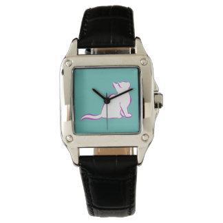 Gato rosado, terraplén blanco reloj de pulsera