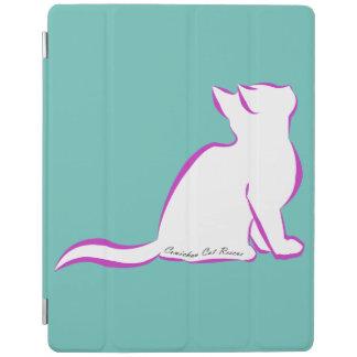 Gato rosado, terraplén blanco, texto interior cubierta de iPad