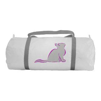 Gato rosado, terraplén gris bolsa de deporte