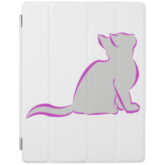 Gato rosado, terraplén gris cover de iPad