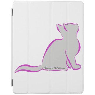 Gato rosado, terraplén gris, texto interior cubierta de iPad