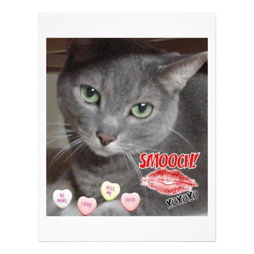 Gato ruso del gris azul del el día de San Valentín Tarjetón