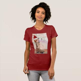 Gato SANTA del teclado EN camiseta del ZAPATO