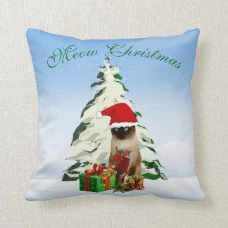 Gato siamés del navidad almohada decorativa 16 x