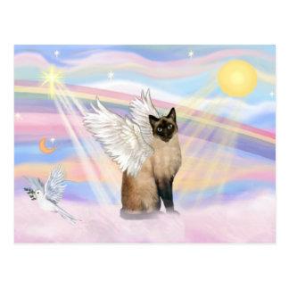 Gato siamés - nubes tarjeta postal