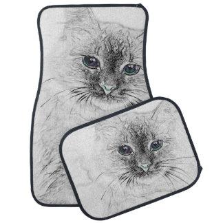 Gato siberiano del gatito Napping en la losa de Alfombrilla De Coche