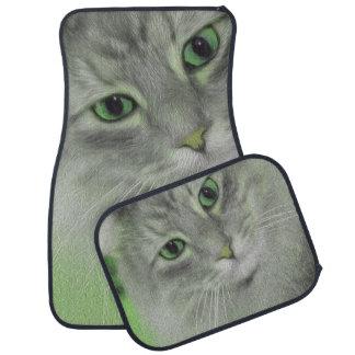 Gato siberiano verde de neón alfombrilla de coche