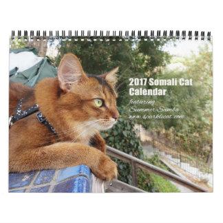 Gato somalí 2017 que ofrece la samba del verano calendarios
