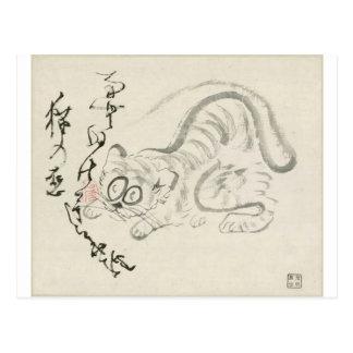 Gato (tigre?) y poema por Sengai Postal