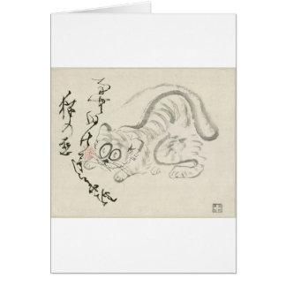 Gato (tigre?) y poema por Sengai Tarjeta De Felicitación