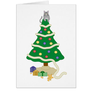 Gato travieso del gatito del árbol de navidad tarjeta