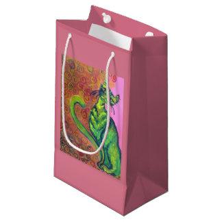 gato verde en bolso rosado del regalo bolsa de regalo pequeña