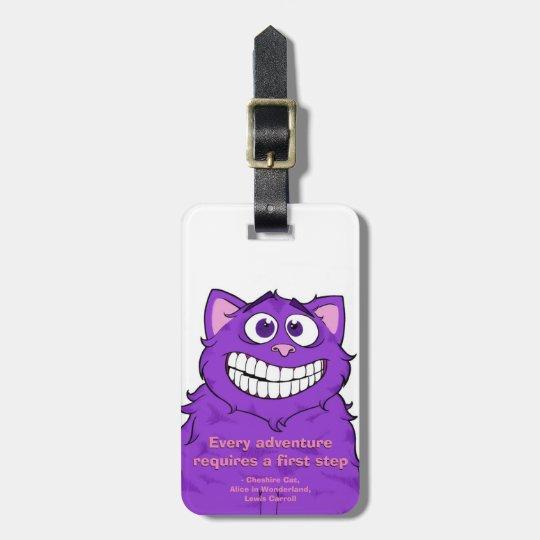Gato w/quote, etiqueta de Cheshire del equipaje