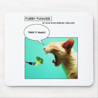 Gato y bróculi peludos del ~ de Funnies Alfombrilla De Ratón