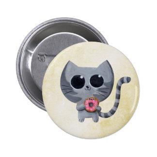 Gato y buñuelo grises lindos chapa redonda de 5 cm