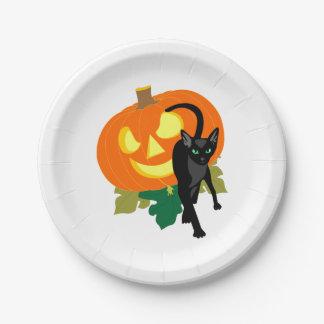 Gato y calabaza de Halloween Plato De Papel