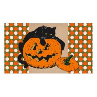 Gato y calabaza de Halloween Tarjetas De Visita