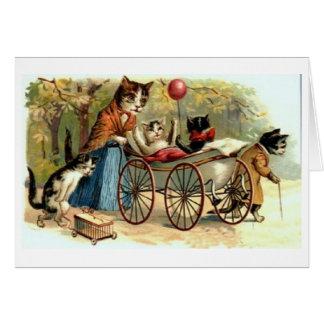 ¡Gato y familia de la madre del vintage!  Tarjeta
