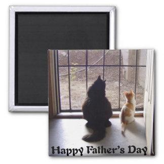 Gato y gatito felices del día de padres iman para frigorífico