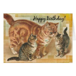 Gato y gatitos, cumpleaños de Momma del vintage Tarjeta De Felicitación