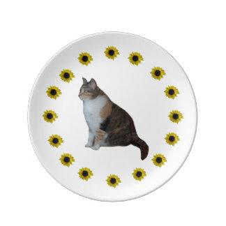 Gato y girasoles de calicó plato de porcelana