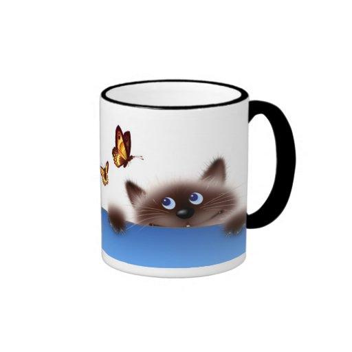 Gato y mariposa taza de café