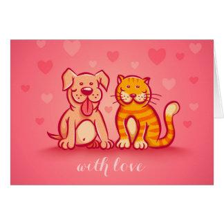 Gato y perro. Tarjeta de felicitación con los