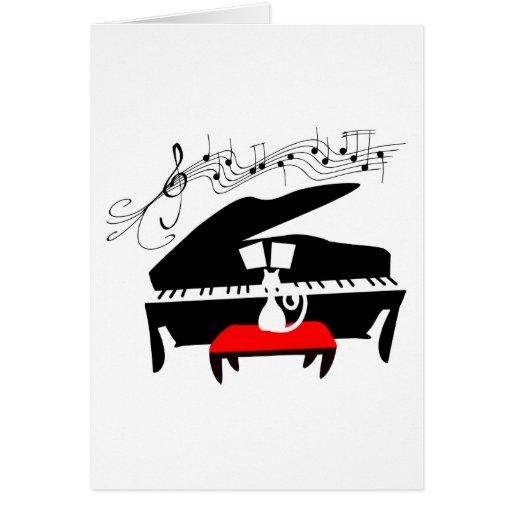 Gato y piano tarjetas