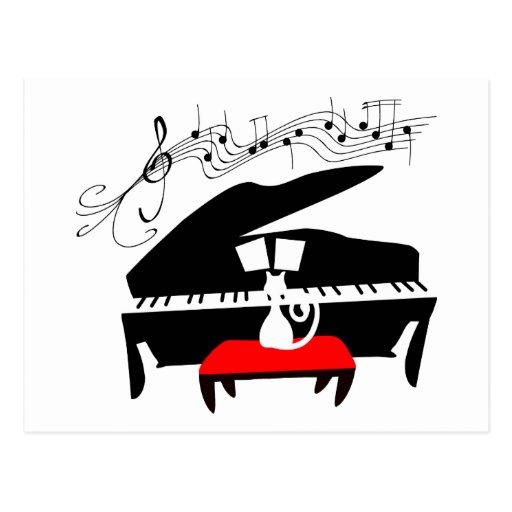 Gato y piano tarjeta postal