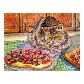 Gato y pizza postal