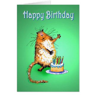 gato y torta de cumpleaños y velas locos, humor, tarjeta de felicitación