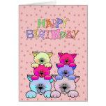 Gatos 2 del feliz cumpleaños de los chicas del niñ
