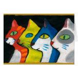 gatos coloridos dibujados en perfil felicitacion