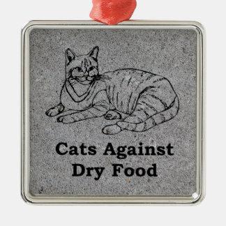 Gatos contra la comida seca adorno cuadrado plateado