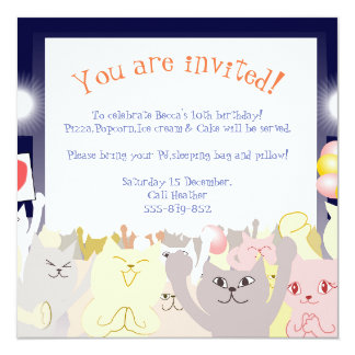 Gatos de la invitación de la fiesta de pijamas
