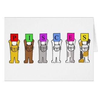 Gatos de la muestra del zodiaco de Piscis que Tarjeta De Felicitación