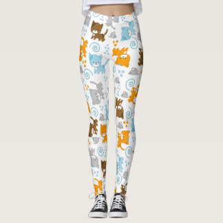 ¡Gatos de los gatos de los gatos! Polainas blancas Leggings