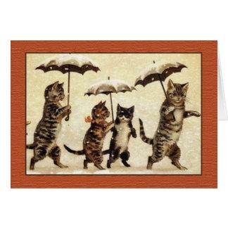 Gatos de Louis Wain con la tarjeta de felicitación