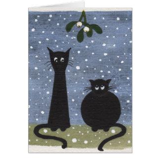 gatos debajo del muérdago tarjeta de felicitación