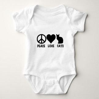 Gatos del amor de la paz body para bebé