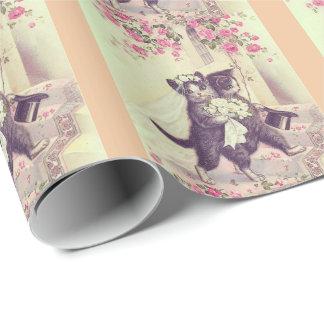 Gatos del boda con las rayas del melocotón papel de regalo