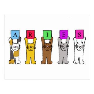 Gatos del dibujo animado del aries para los cumple tarjetas postales