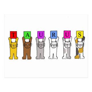 Gatos del dibujo animado del tauro para los cumple postales