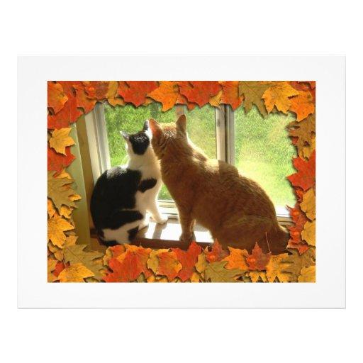 Gatos del otoño flyer a todo color