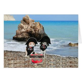 Gatos del pirata tarjeta de felicitación