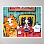 Gatos del té y del cereal poster