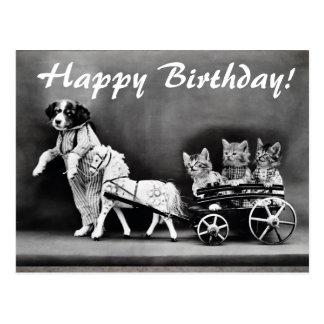 Gatos del vintage y postal del feliz cumpleaños