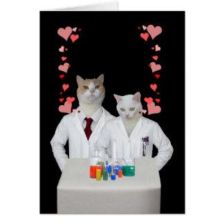 Gatos divertidos adaptables de la química tarjeta de felicitación