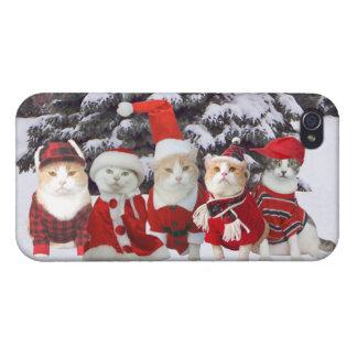 Gatos divertidos del navidad iPhone 4 protector
