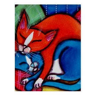 Gatos el dormir postal